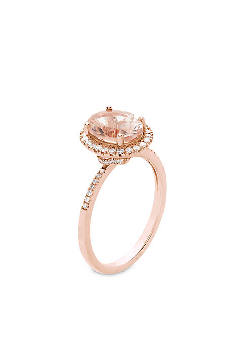 10k Rose Gold Morganite Diamond Engagement Ring