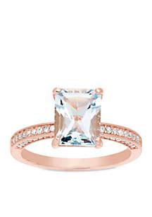 10K Rose Gold Aquamarine Diamond Engagement Ring