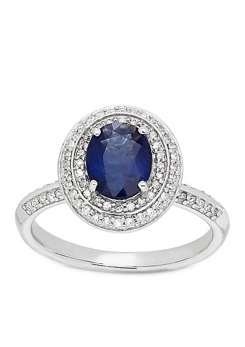 Belk & Co. 10K White Gold Sapphire Diamond