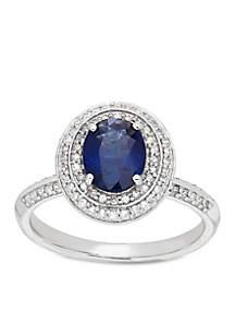 10K White Gold Sapphire Diamond Enagement Ring