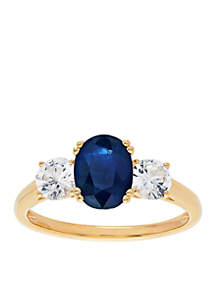 Blue Sapphire & White Sapphire Ring in 10k Yellow Gold