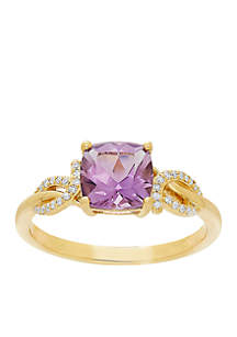 0.022 ct. t.w. Diamond and Amethyst Ring in 10k Yellow Gold