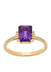 0.054 ct. t.w. Diamond and Amethyst Ring in 10k Yellow Gold