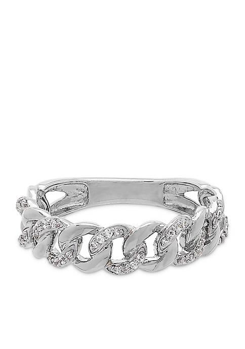 1/8 ct. t.w. Interlocking Ring in 10k White Gold