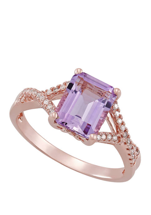2.15 ct. t.w. Pink Amethyst and 0.096 ct. t.w. Diamond Ring in 10K Rose Gold