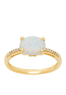 0.042 ct. t.w. Diamond and Created Opal Ring in 10k Yellow Gold