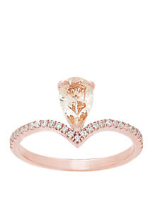 1/7 ct. t.w. Diamond and Morganite Ring in 10k Rose Gold