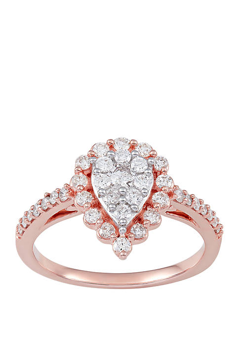 3/4 ct. t.w. Diamond Pear Shape Design Ring in 10k Rose Gold