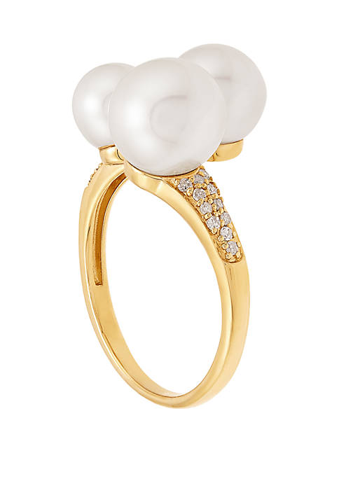Fresh Water Pearl with 1/8 ct. t.w Diamond Ring in 10K Yellow Gold