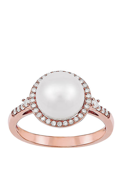 Freshwater Pearl With 1/2 ct. t.w. Diamond Accent Ring in 10k Rose Gold