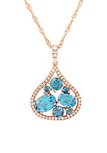 1/6 ct. t.w. Diamond and London Blue Topaz Pendant Necklace in 10k Rose Gold