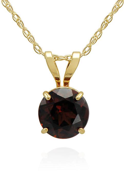 Garnet Pendant Necklace in 10K Yellow Gold