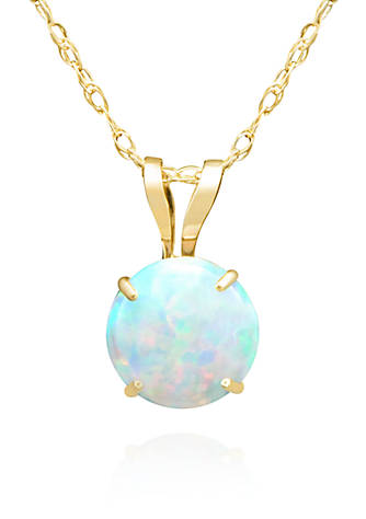 Belk co opal solitaire pendant necklace in 14k yellow gold belk opal solitaire pendant necklace in 14k yellow gold aloadofball Images
