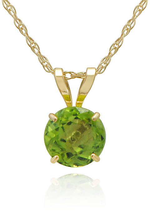Peridot Pendant Necklace in 14K Yellow Gold
