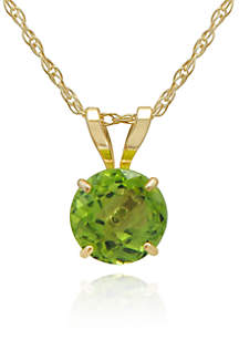 Peridot Pendant Necklace in 10K Yellow Gold