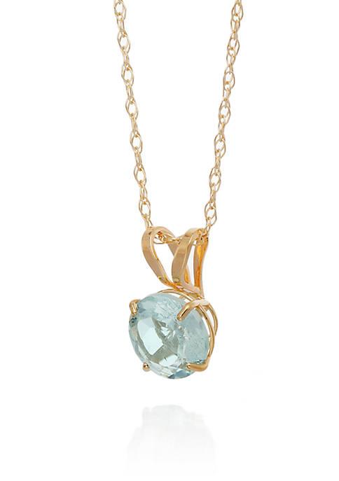 Belk & Co. Aquamarine Pendant Necklace in 10k