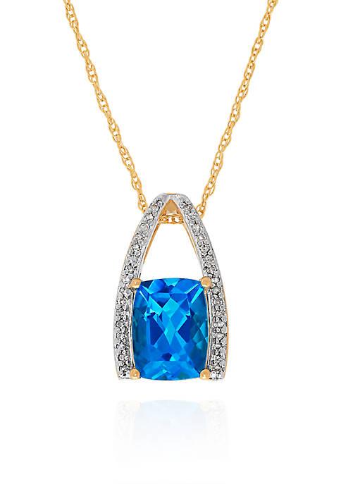 Belk & Co. Blue Topaz & Diamond Pendant