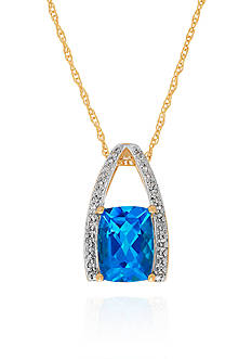 Belk & Co. Blue Topaz & Diamond Pendant in 10K Yellow Gold