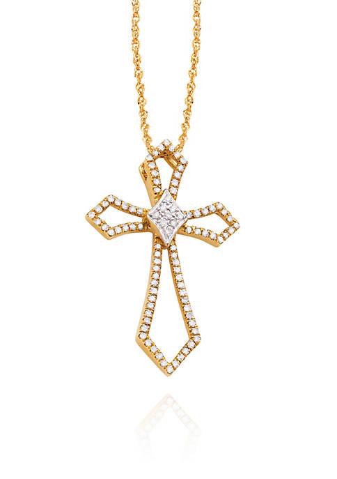 Diamond Cross Pendant in 10K Yellow Gold
