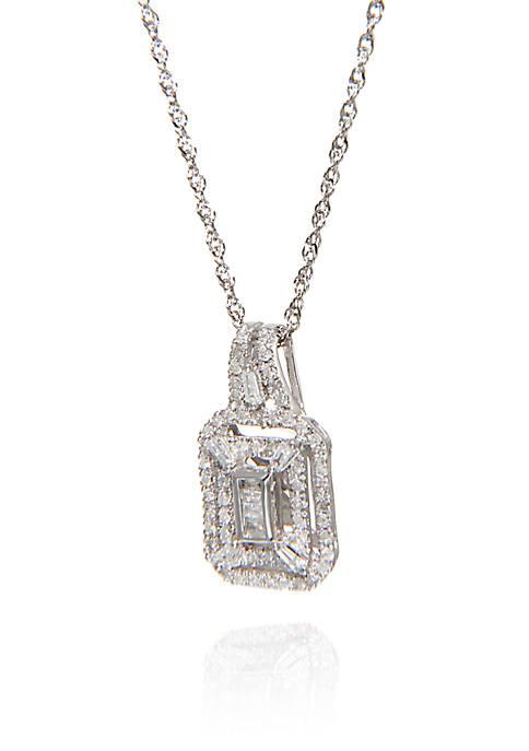 0.33 ct. t.w. Diamond Square Cluster Pendant in 10k White Gold