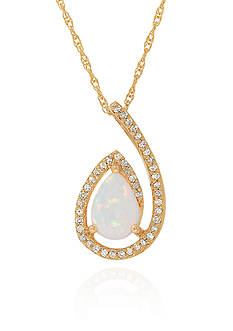 Belk & Co. Created Opal Pendant in 10k Yellow Gold