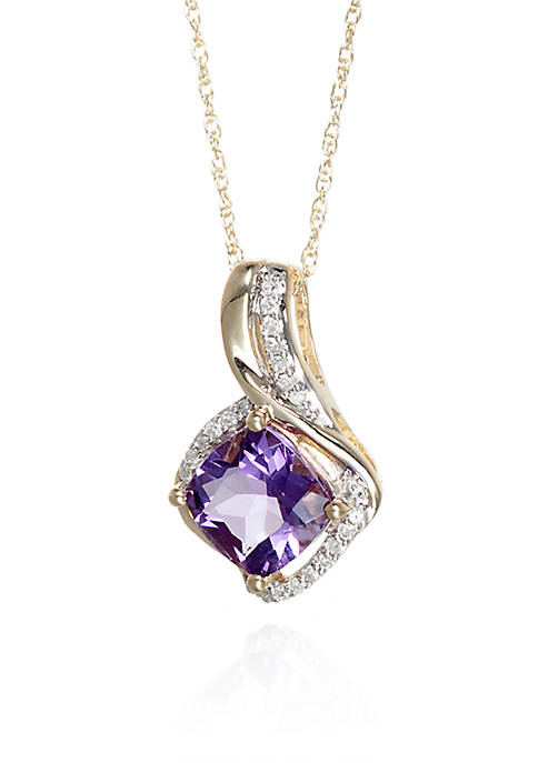 Amethyst and Diamond Pendant in Sterling Silver