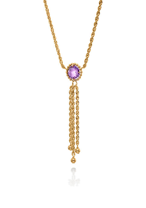Amethyst with Tassels Necklace in 10K Yellow Gold