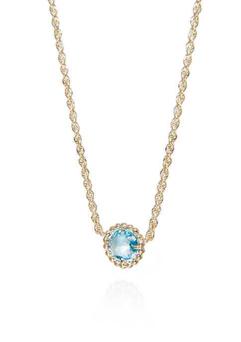 Round Beaded Blue Topaz Necklace in 10k Yellow Gold