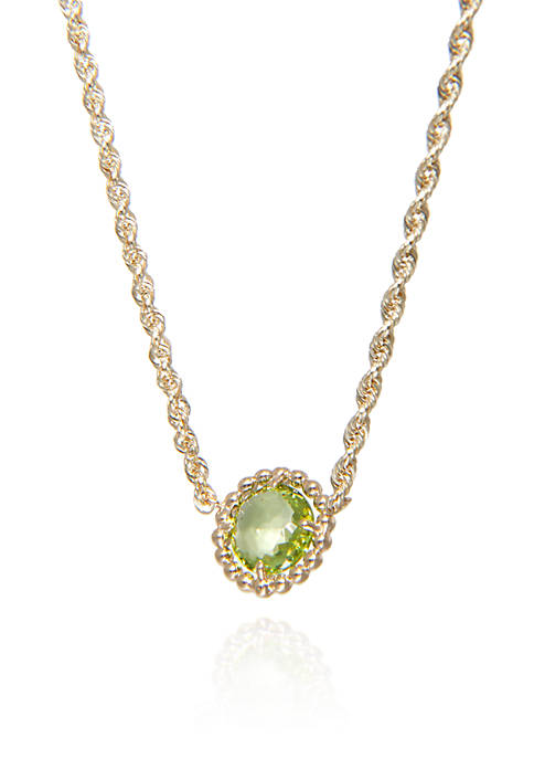 Peridot Beaded Necklace in 10k Yellow Gold
