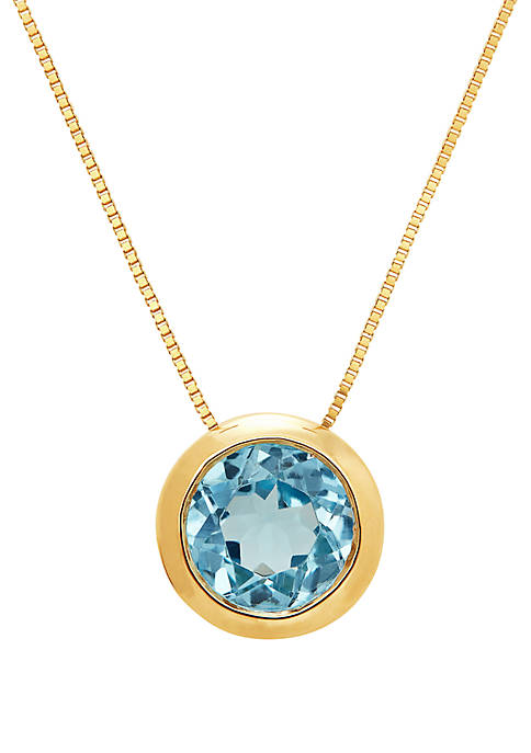 1.5 ct. t.w. Blue Topaz Necklace in 10K Yellow Gold