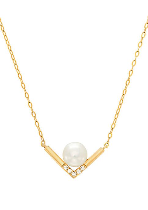 Freshwater Pearl and 1/10 ct. t.w. White Topaz Necklace in 10k Yellow Gold