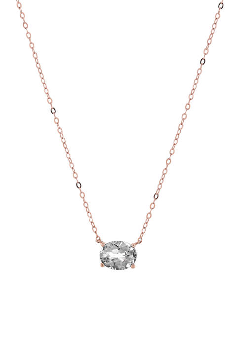Created White Sapphire Pendant Necklace in 10K Rose Gold