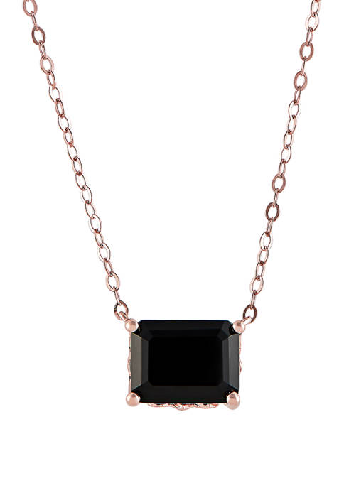2.1 ct. t.w. Onyx Rolo Chain Pendant Necklace in 10K Rose Gold