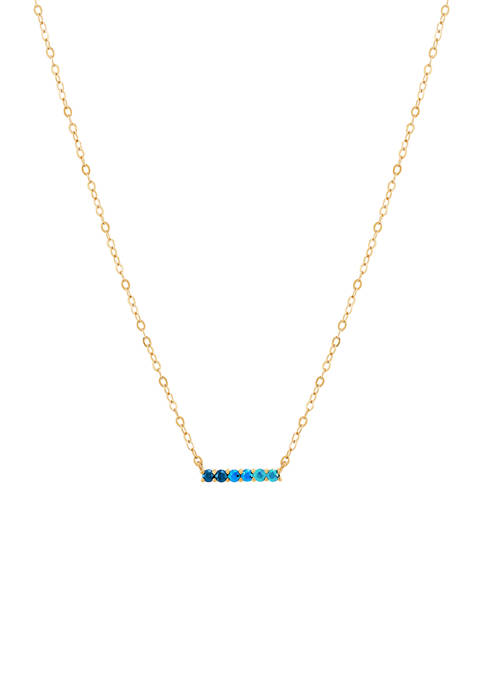 Swiss Blue Topaz Necklace in 10K Yellow Gold