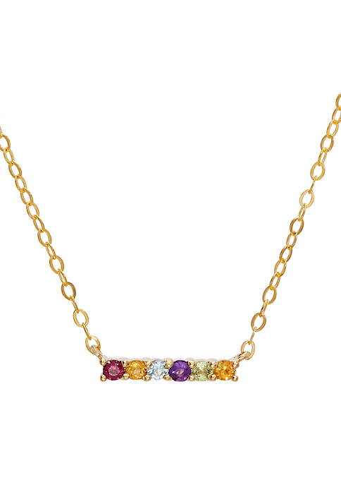 Multi Stone Necklace in 10k Yellow Gold