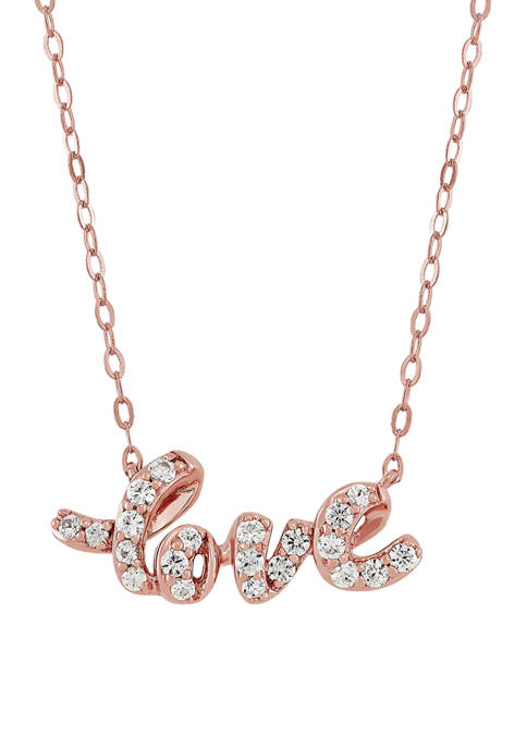 White Sapphire Love Pendant Necklace in 10K Rose Gold