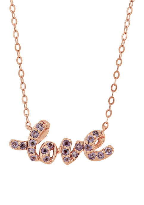 Pink Amethyst Love Pendant Necklace in 10K Rose Gold