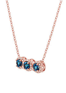 1/6 ct. t.w. Diamond and Blue Topaz Necklace in 10k Rose Gold