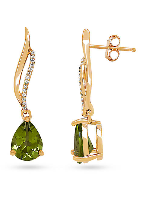 Belk & Co. 10K Yellow Gold Peridot Teardrop