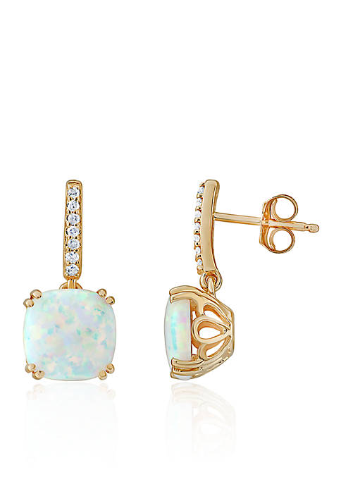 Belk & Co. Created Opal and Diamond Earrings