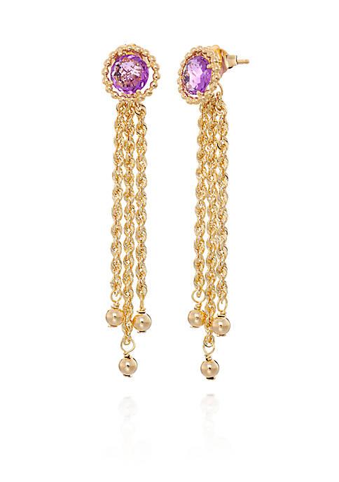 Belk & Co. Amethyst with Tassels Earrings in