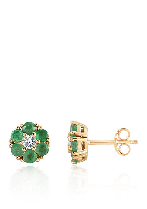Emerald and White Sapphire Stud Earrings in 10K Yellow Gold