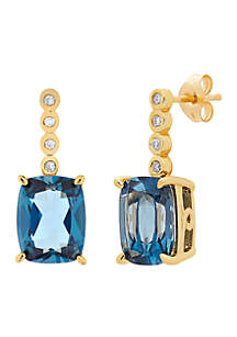0.056 ct. t.w. Diamonds and London Blue Topaz Earrings in 10k Yellow Gold