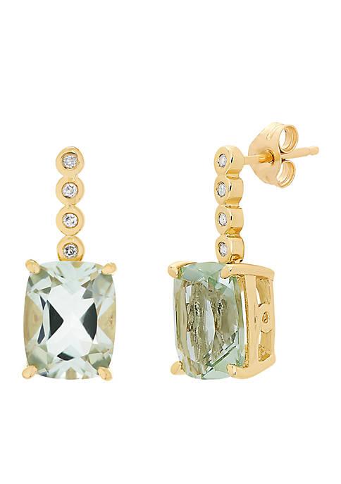 0.05 ct. t.w. Diamonds and Green Amethyst Earrings in 10k Yellow Gold