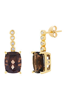0.05 ct. t.w. Diamond and Smoky Topaz Earrings in 10k Yellow Gold