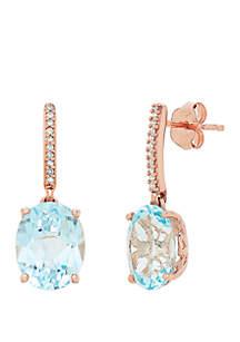 2.25 ct. t.w. Blue Topaz and 1/10 c.t t.w. Diamond Oval Drop Earrings in 10K Rose Gold