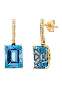 0.05 ct. t.w. Diamond and London Blue Topaz Earrings in 10k Yellow Gold