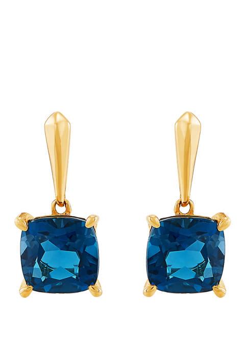10 Karat Gold Blue Topaz Earrings