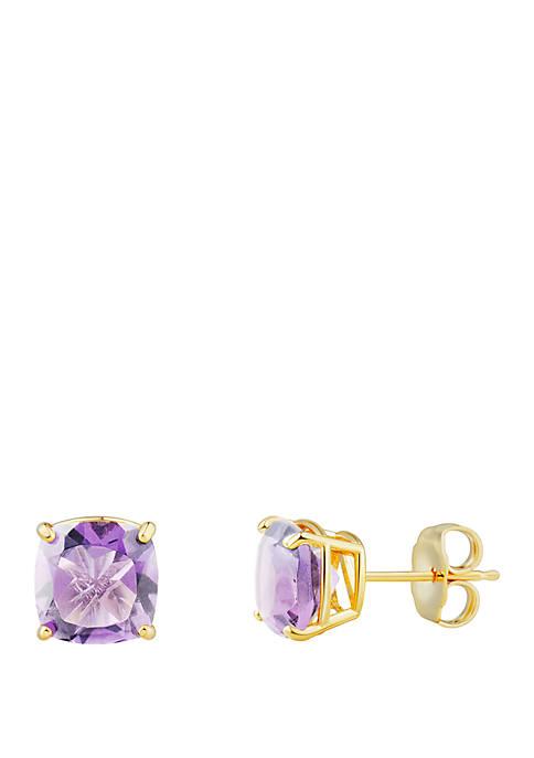 2.8 ct. t.w. Pink Amethyst Cushion Earrings in 10k Yellow Gold