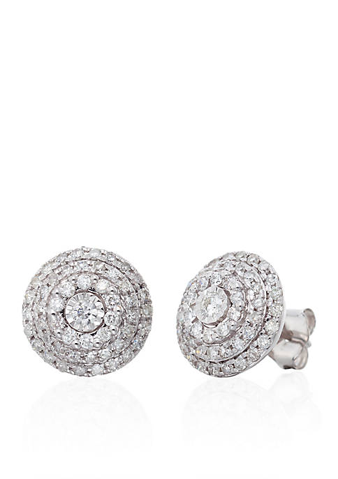 0.50 ct. t.w. Diamond Cluster Earrings in 10K White Gold